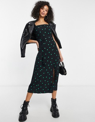 New Look square neck belted midi dress in spot