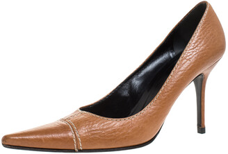 Dolce & Gabbana Brown Leather Pointed Toe Pumps Size 38.5
