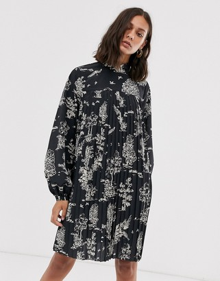 And other stories & woodland print pleated mini dress in black