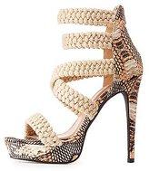 Charlotte Russe Faux Snakeskin Braided Platform Sandals