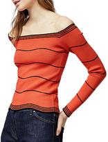 Warehouse Wavy Stripe Bardot Top, Red