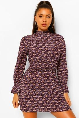 boohoo Petite High Neck Floral Mini Dress