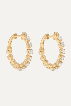 Marlo Laz Mini Full Circle 14-karat Gold, Diamond And Pearl Earrings - one size