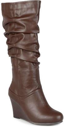 Journee Collection Womens Hana Wide Calf Slouch Wedge Heel Boots