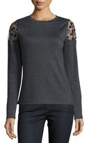 Elie Tahari Alice Lace Cold-Shoulder Sweater, Gray