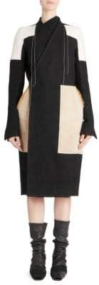 Rick Owens Fur Mixed Media Patch Coat