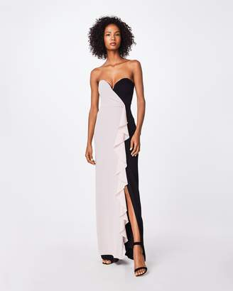 Nicole Miller Color Block Strapless Ruffle Gown