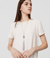 LOFT Layered Stone Tassel Pendant Necklace