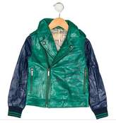 John Galliano Boys' Colorblock Leather Jacket w/ Tags