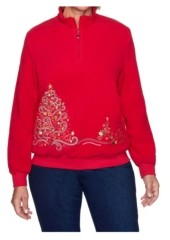 Alfred Dunner Women's Tree Embroidered Pullover