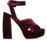 Miu Miu Burgundy Velvet Platform Sandals