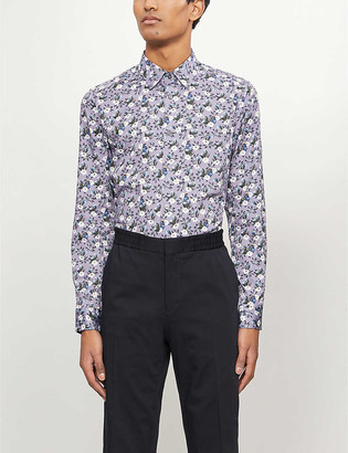 Ted Baker Shecan floral and bird-print regular-fit stretch-cotton shirt