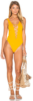 Indah Rainey Lace Up One Piece in Yellow