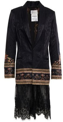 Camilla Friends In Flora Embellished Lace-paneled Satin-jacquard Blazer