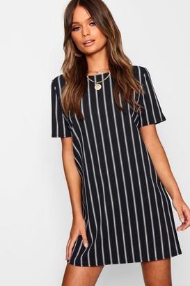 boohoo Mono Stripe Shift Dress