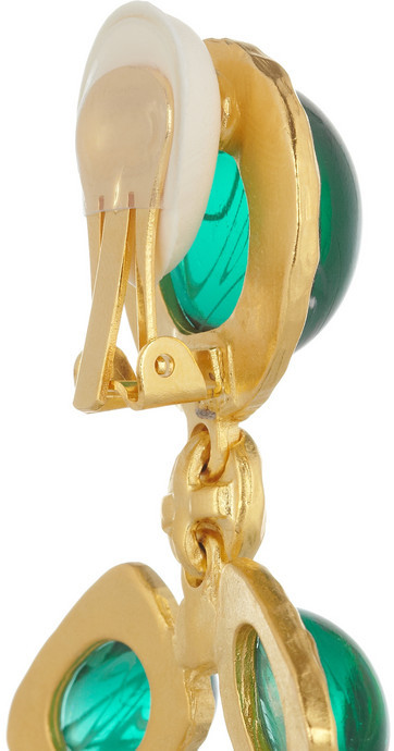 Kenneth Jay Lane Gold-plated, crystal and resin clip earrings