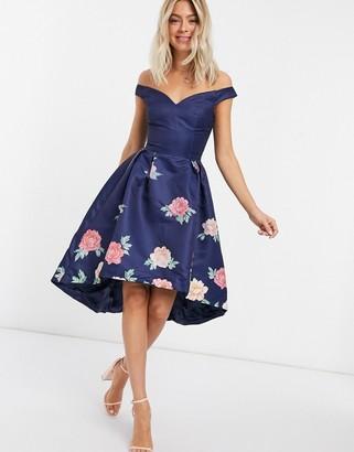 Chi Chi London off shoulder floral midi dress in navy