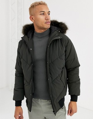 ASOS DESIGN puffer jacket in khaki with detachable faux fur trim