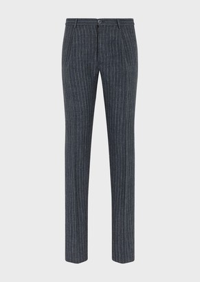 Emporio Armani Linen-Tweed Pinstriped Trousers