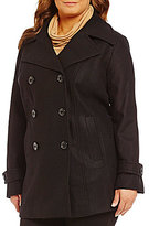 Anne Klein Plus Double-Breasted Wool Mid-Length Peacoat