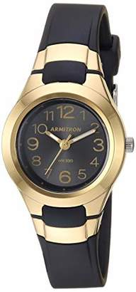 Armitron Sport Women's 25/6418GBK Easy to Read Gold-Tone and Black Resin Strap Watch