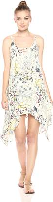 Lucca Couture Women's Floral Print Hankerchief Hem Mini Dress