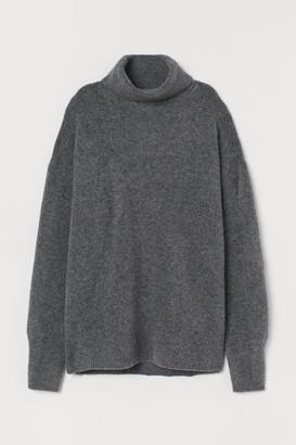 H&M Fine-knit Turtleneck Sweater - Gray