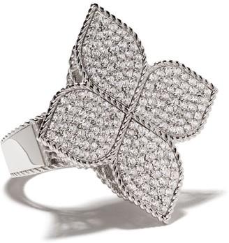 Roberto Coin 18kt white gold Princess Flower diamond ring
