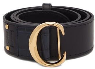 Chloé C-buckle Leather Belt - Navy