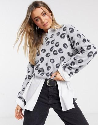 Abercrombie & Fitch mock neck knit sweater in gray leopard