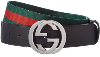 Gucci Web & Leather G Buckle Belt