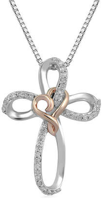 Silver Cross Hallmark Diamonds Womens 1/10 CT. T.W. Genuine Diamond 14K Rose Gold Over Silver Sterling Pendant Necklace