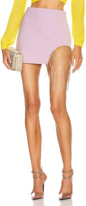 Area Crystal Fishnet Mini Skirt in Lavender   FWRD