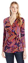 Anne Klein Women's Somerset Printed Long Sleeve Wrap Top