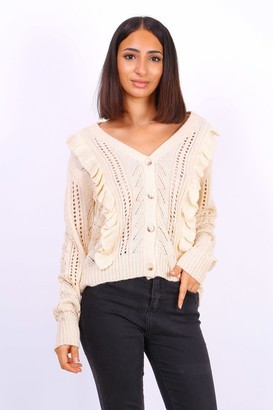 Lilura London Button Front Ruffle Knit Cardigan In Beige