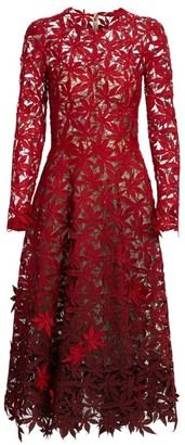 Oscar de la Renta Embroidered Lace Eyelet Leaf Long-Sleeve A-Line Dress