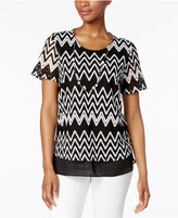 Alfred Dunner Lace It Up Detachable-Necklace Top