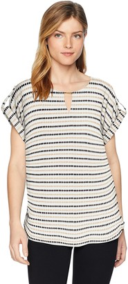 Calvin Klein Women's Printed Short Sleeve Top with Bar Hardware