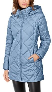 Andrew Marc Diamond Quilt Hooded Puffer Coat