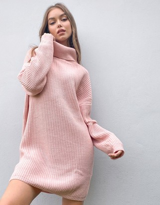 In The Style x Billie Faiers oversized roll neck knitted sweater dress in pink