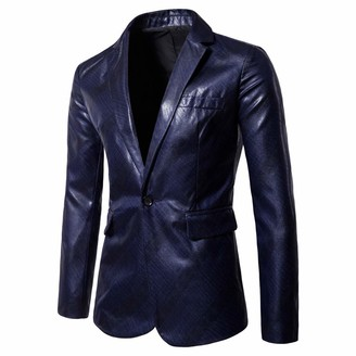 Goosun Clothing Men's Fashion Slim Fit Casual One Button Blazer Jacket Suits Leather Jacket Long Sleeve Pure Color Coat Goosun Soft Leather Blazer Mid Length Vintage Jacket Coat Dark Blue