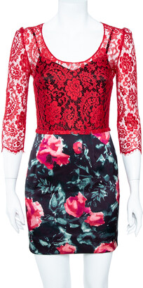 Dolce & Gabbana Red Lace Bodice Floral Print Sheath Dress M