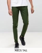 Asos Tall Super Skinny Smart Pants In Dark Green