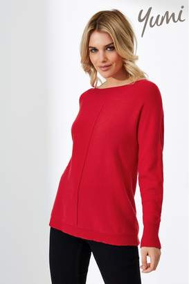 Yumi Womens Relaxed Knit Jumper - Red