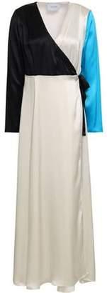Leone We Are Color-block Silk-satin Maxi Wrap Dress