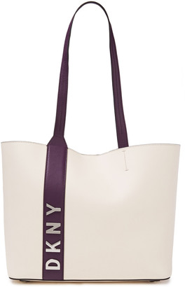 DKNY Logo-embellished Two-tone Textured-leather Tote
