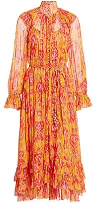 Zimmermann Brightside Frilled Ikat Print Silk Dress
