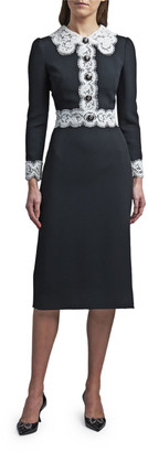 Dolce & Gabbana Lace Trim Long-Sleeve Midi Dress