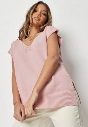 Missguided Tall Pink V Neck Sleeveless Knit Tunic Top