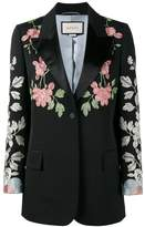 Gucci Black floral embroidered blazer